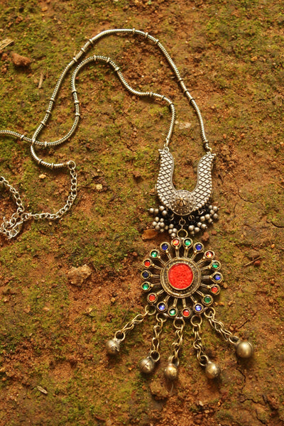 Red Fusion Long Neckpiece