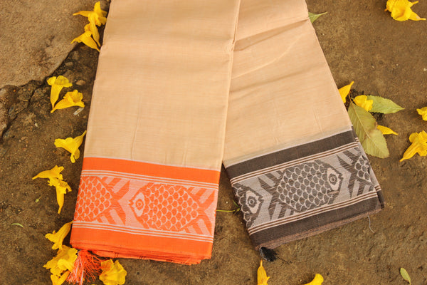 Handwoven 'Dhonekhali' saree in light apricot with black and orange fish border. RK-FISH2-C14-The Chalk Boutique