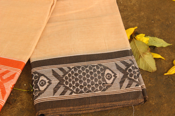 Handwoven 'Dhonekhali' saree in light apricot with black and orange fish border. RK-FISH2-C14