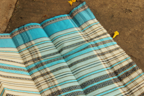 Handwoven 'Dhonekhali' saree in white and blue. RK-DHON3-C13