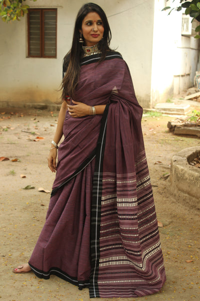 Purple 'handloom mark' handwoven begumpuri saree with dobby naksha. TCB-PC4-BG1-The Chalk Boutique
