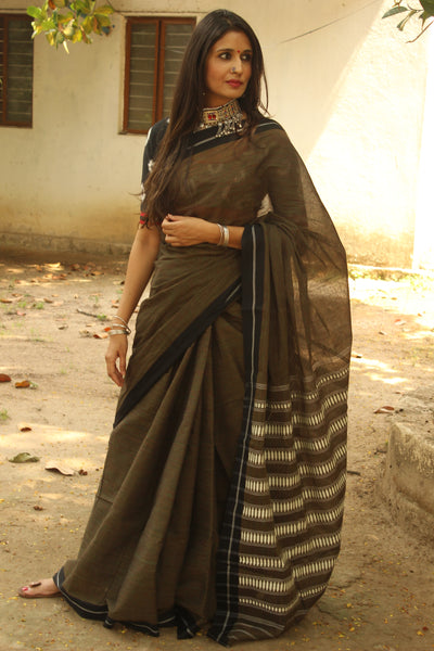 Dark Olive Green 'handloom mark' handwoven begumpuri saree with dobby naksha. TCB-PC5-BG-The Chalk Boutique