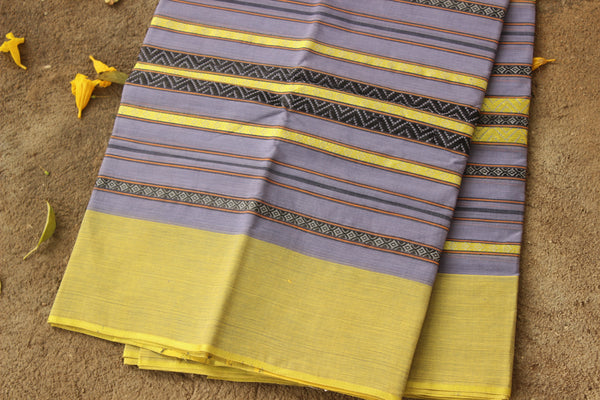 Handwoven 'Dhonekhali' saree in purple and yellow. RK-DHON4-C13-The Chalk Boutique