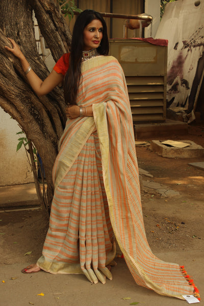 Linen saree with stripes and zari border.TCB-KH1-CY