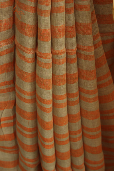Linen saree with stripes and zari border.TCB-KH1-CY-The Chalk Boutique