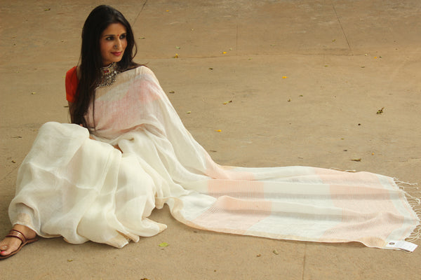 | KASAVU | Handloom linen saree with zari border. NF-LL2-C5-The Chalk Boutique
