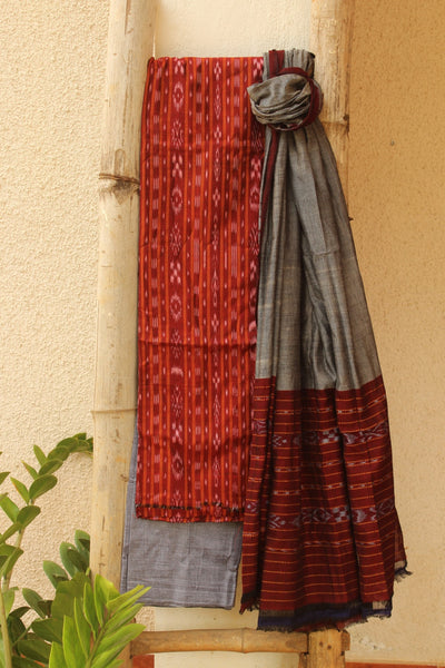 Red and Grey Sambalpuri Ikat Unstitched Suit Set