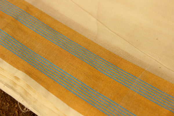 Traditional Handwoven 'Kasavu' buti cream cotton saree with blue zari border. RK-PKV-2-C