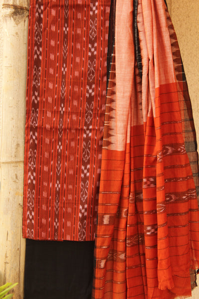 Rust Sambalpuri Ikat Unstitched Suit Set