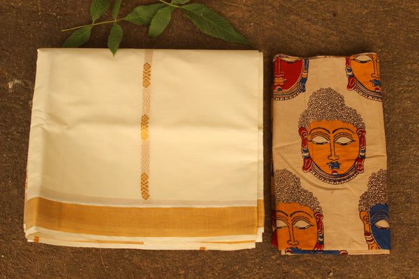 Traditional Handwoven 'Kasavu' buti cream cotton saree with heavy pallu. RK-HKV-1-C