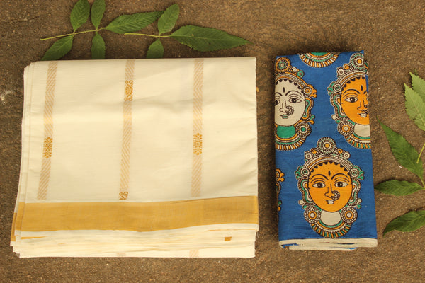 Traditional Handwoven 'Kasavu' buti cream cotton saree with heavy pallu. RK-HKV-4-C