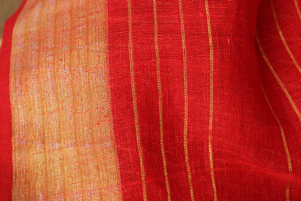 Red Checks zari linen saree with zari paar and tassels on the pallu. NF-LZAR1-C5-The Chalk Boutique