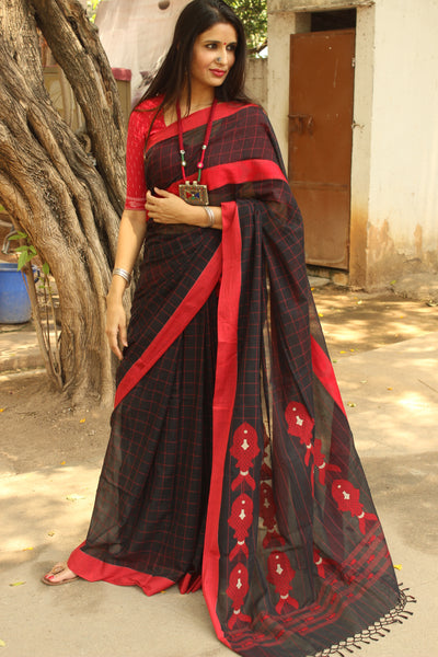 Black & Red Soft and Light weight pure handloom cotton saree in checks with laal paar . TCB-AN2-BN