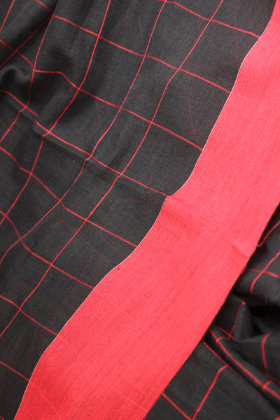 Black & Red Soft and Light weight pure handloom cotton saree in checks with laal paar . TCB-AN2-BN-The Chalk Boutique