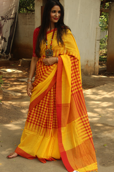 | Butter and Jam | Pure handloom cotton saree with checked patterns woven. NF-TD2-C5