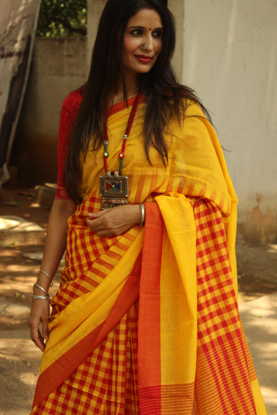 | Butter and Jam | Pure handloom cotton saree with checked patterns woven. NF-TD2-C5-The Chalk Boutique