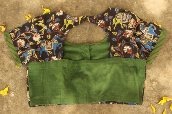 Size 38 Short Sleeves block green and black kalamkari In cotton. RK-RBL-40a