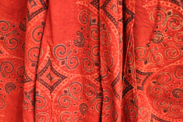Handwoven vegetable dyed Ajrakh mul cotton saree in madder red. KCH-AJR2-C4