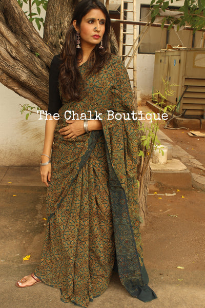 Handwoven vegetable dyed Ajrakh mul cotton saree in green. KCH-AJR6-C4