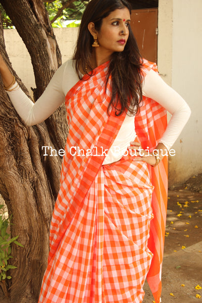 Orange and white Fun classic Checked Handwoven 'gamcha' cotton Saree. RK-CHECKS6-C14