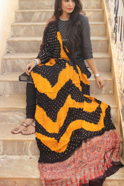 Black and Mustard Hand Block Ajrakh bandhej dupatta in modal silk