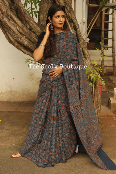 Handwoven vegetable dyed Ajrakh mul cotton saree in indigo. KCH-AJR7-C4