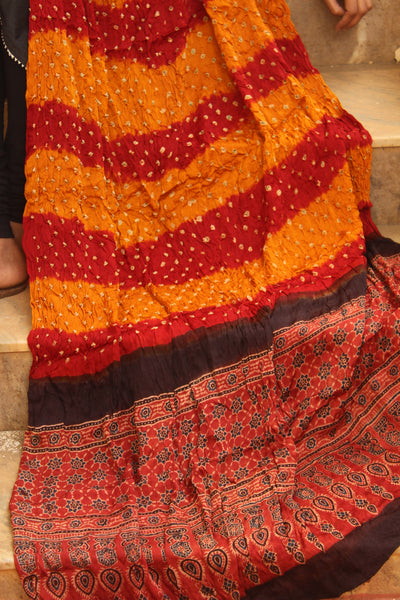 Red and Mustard Hand Block Ajrakh bandhej dupatta in modal silk