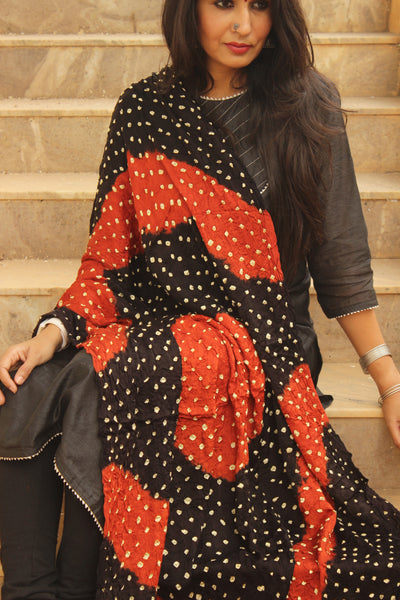 Black and Rust Hand Block Ajrakh bandhej dupatta in modal silk