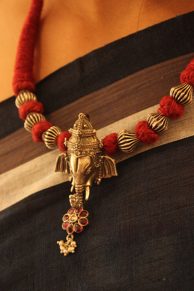 Antique Silver 'Ganesha' pendant Adjustable Dori Necklace