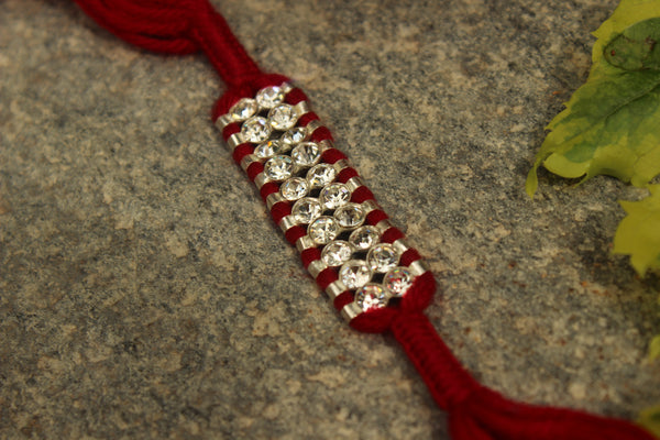 Hand Knotted rakhi with real garnets (Wristband) in silver . VA-AG18-10-b