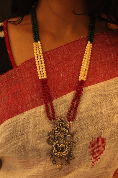 Adjustable 'India' Beaded Silver necklace