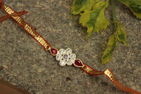 Gota patti rakhi with real garnets (Wristband) in silver . VA-AG18-11-d