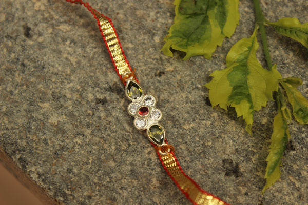 Gota patti rakhi with real garnets (Wristband) in silver . VA-AG18-11-f