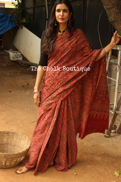 Handwoven vegetable dyed Ajrakh mul cotton saree in madder red. KCH-AJR8-C4
