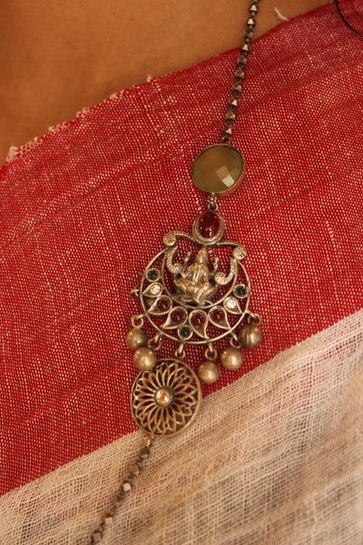 Silver Beaded ganesha necklace