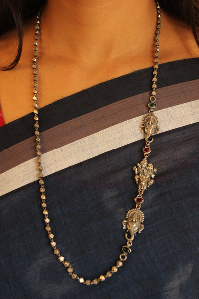Shiva-Parvati and Ganesha Silver Beaded necklace