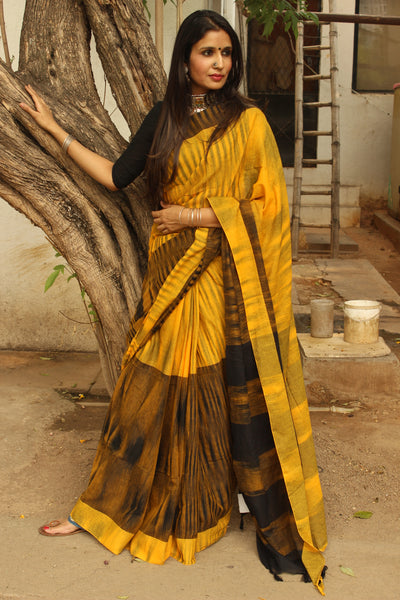Pure Cotton Tie & Dye Half & Half Saree TCB-TD1-CY5-The Chalk Boutique
