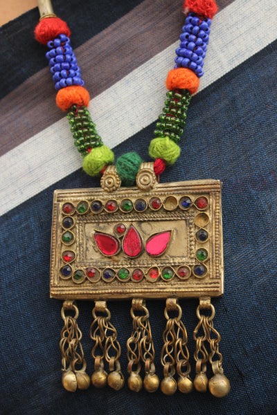 Handcrafted necklace with antique  pendant.