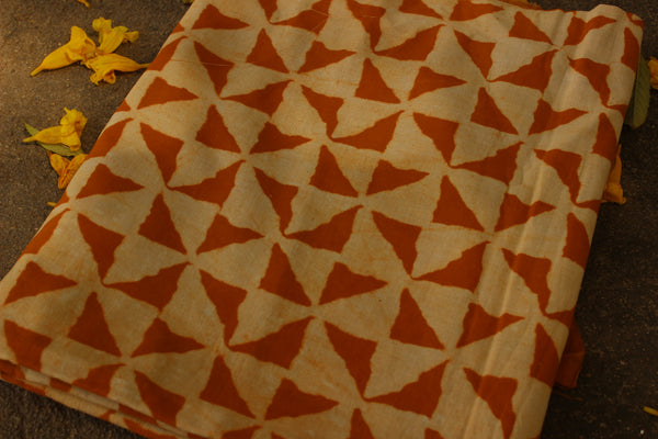 Hand block printed Fabric in Cotton in beige and mustard. TCB-DFAB-6