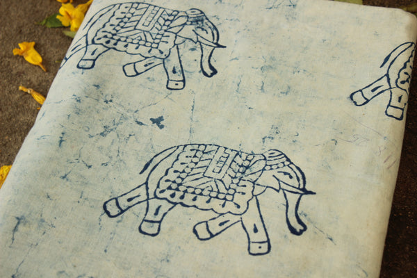 Cracks Design with elephant hand block printed Fabric in Cotton TCB-DFAB-4