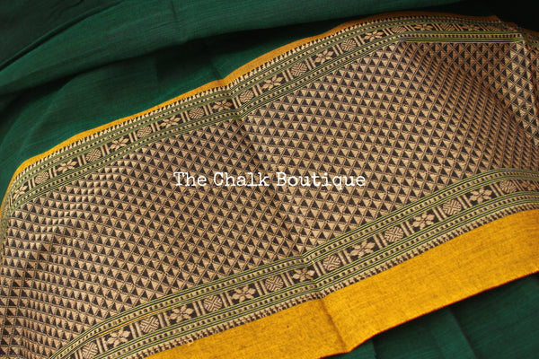 | Hara Rang | Bottle Green Soft Cotton Saree With Contrast Broad Border.