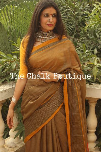| Khus | Khakhi Soft Cotton Saree With Contrast Broad Border.