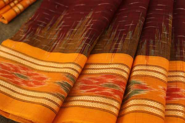 Handwoven sambalpuri odisha ikat saree in cotton. TCB-JH1-The Chalk Boutique