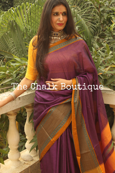 | Yamuna | Purple Soft Cotton Saree With Contrast Broad Border.