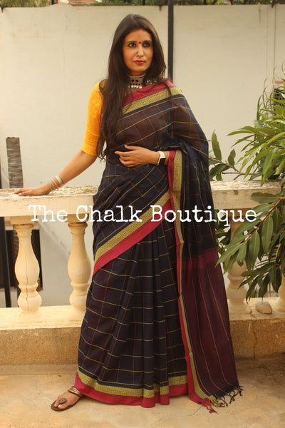 Black Checked Handloom Cotton Saree with contrast Border.