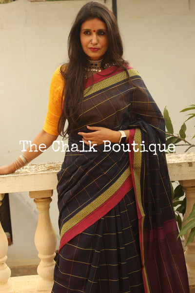 Dark Blue Checked Handloom Cotton Saree with contrast Border.