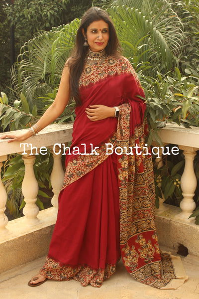 | Shayari | Red soft hand block printed cotton Kalamkari Saree.