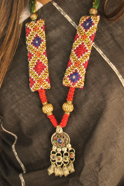 Handcrafted Adjustable Kutch Work Necklace With German Silver Pendant. CC-KNP1-C6