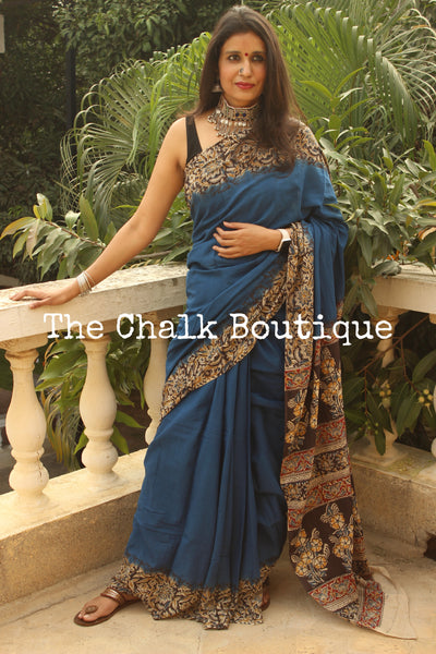 | Neal | Blue soft hand block printed cotton Kalamkari Saree.