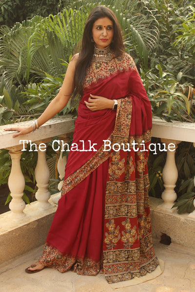 | Reeya | Red soft hand block printed cotton Kalamkari Saree.